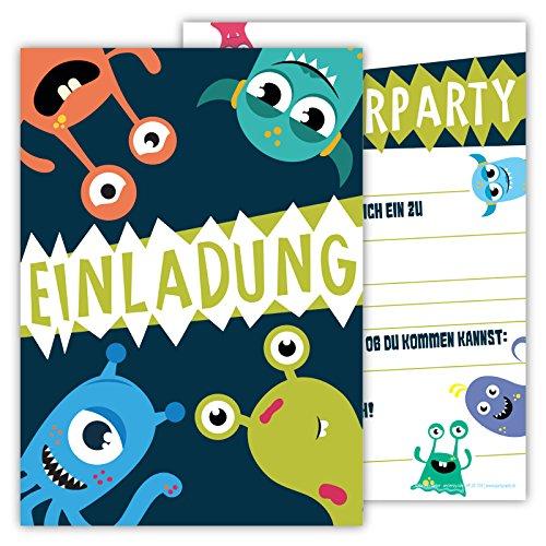 12 lustige einladungskarten im set für kindergeburtstag