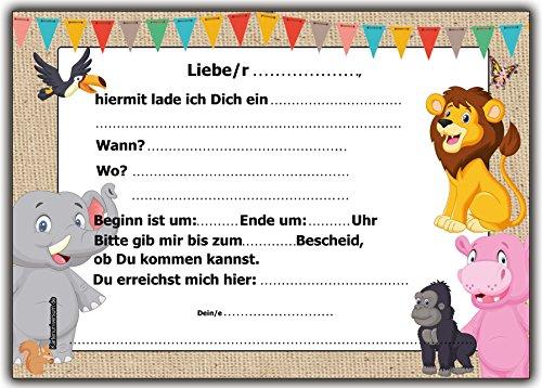 12er-set einladungskarten kindergeburtstag wilde tiere zoo